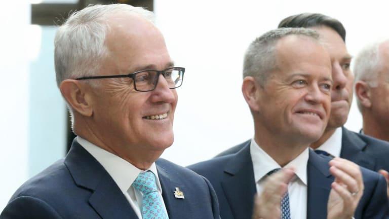 Prime Minister Malcolm Turnbull with Opposition Leader Bill Shorten.