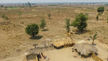 Dried up farmland on the edge of Maseria village, in the Machinga district of Malawi.