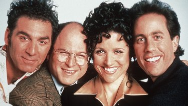 <i>Seinfeld</i> cast members, from left, Michael Richards, Jason Alexander, Julia Louis-Dreyfus and Jerry Seinfeld.