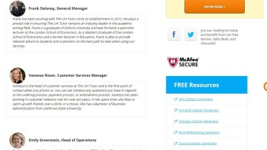 Staff profiles on the Uni Tutor website were taken down after Fairfax Media found they were fake.
