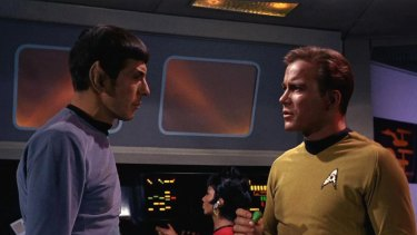 Leonard Nimoy as Mr Spock and William Shatner as Captain James T. Kirk appear in the first episode of <i>Star Trek</i>, which aired on September 8, 1966. Behind them is Uhura, played by Nichelle Nichols.