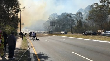 A fire at Macquarie Park has caused traffic delays on Lane Cove Road.