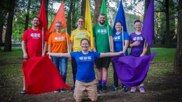 Members of the Capital Queers group wearing their rainbow CBR t-shirts at their final rehearsal before Mardi Gras. Pictured are Rodney Clapham, Ann-Marie Pesticcio,Emma Webster, Michael Smith, Amy Dean, Jolene Mifsud and Hannah Dawson (front).