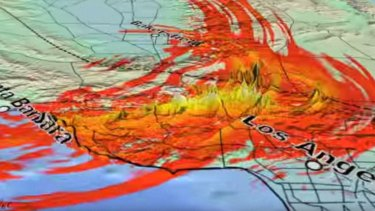 The simulated shaking from a possible magnitude-8 earthquake on the San Andreas fault.