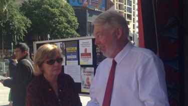 Daniel Morcombe's parents Bruce and Denise in King George Square with the child safety foundation they created in his honour as legal argument in the appeal of his killer is heard a block away.