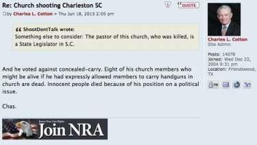 'Innocent people died because of his position on a political issue' ... NRA board member Charles Cotton on TexasCHLForum.com.