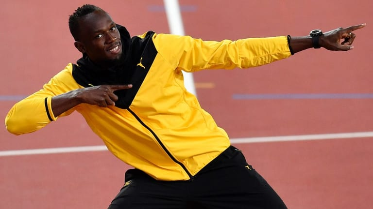 Jamaica's Usain Bolt preforms his trademark pose at the World Athletics Championships in London last month.