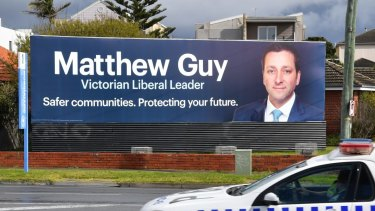 'Safer communities. Protecting your future': A billboard on the Nepean Highway for Matthew Guy.