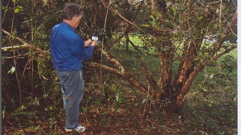 Expert examines the vegetation at the Baden-Clays' home.