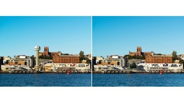Before and after images of Queen's Wharf with and without the tower.