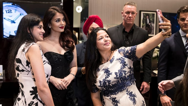 Aishwarya Rai Bachchan and fans at the unveiling of the Longines boutique in the Queen Victoria Building on Saturday.