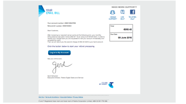 A copy of the fake letter emailed to Telstra customers.