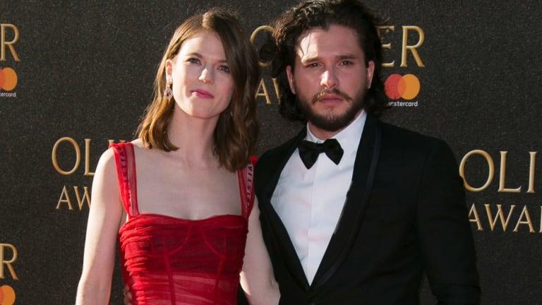 Kit Harington and Rosie Leslie attend the Oliver Awards 2017.