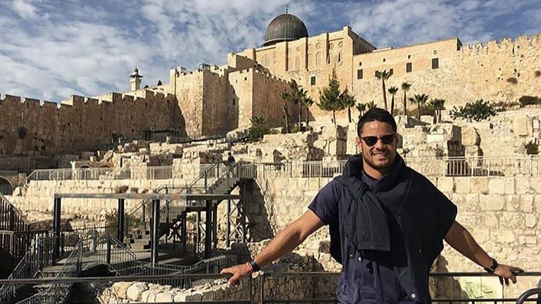 Jarryd Hayne is thought to be on his way back to Israel, where he had been holidaying recently.