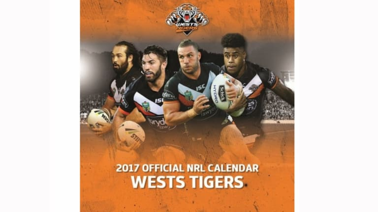 Collector's item: Robbie Farah alongside Aaron Woods, James Tedsco and Kevin Naiqama on the 2017 Wests Tigers calendar.