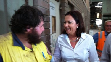 Opposition Leader Annastacia Palaszczuk meets third-year apprentice Corey Messenger at Claypave in Bundamba.