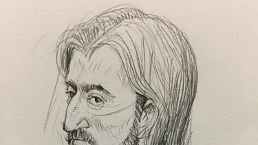 An artist's sketch of Abdullah Chaarani, 26, appearing in the Melbourne Magistrates Court on Friday