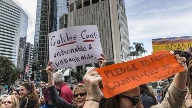 A protest against Adani's Carmichael mine was held in Brisbane last week.
