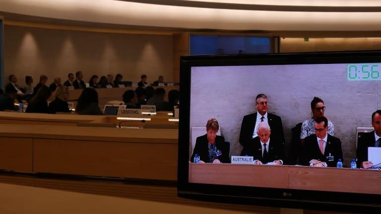 Veteran MP Philip Ruddock joined Australia's delegation at the UN forum, defending Australia's human rights record.
