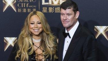 James Packer and fiance Mariah Carey.