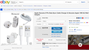 Found on eBay: 'Genuine' lightning cable and charger for $50 less than you'd pay at the official Apple store.