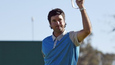 Too solid: Bubba Watson held firm and parred the final hole to take the win.