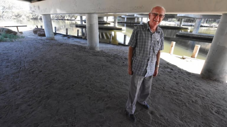 93-year-old local legend Reg Lambert has been visiting the homeless under the Serpentine River's Pinjarra Road bridge since about 1983.