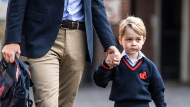 Prince George on his first day of school at Thomas's Battersea.
