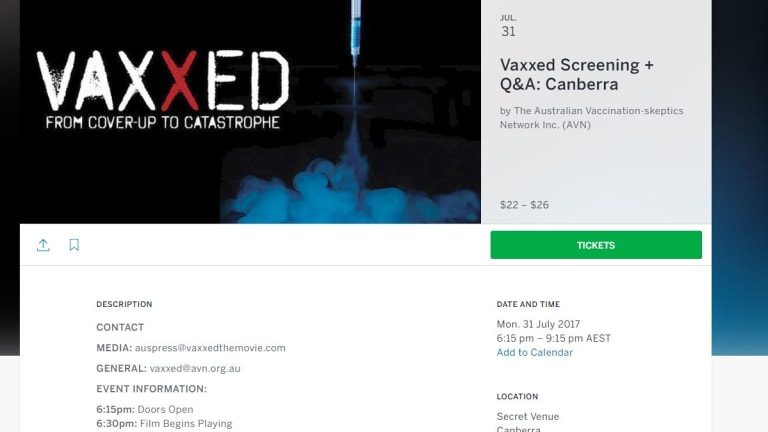 Screen grab of the ticketing portal for the 'Vaxxed' secret screening in Canberra.