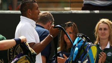 Polarising: Nick Kyrgios leaves the court after he was defeated by Richard Gasquet.