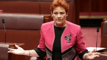 Senator Pauline Hanson is not as happy as she appears on her Christmas poster.