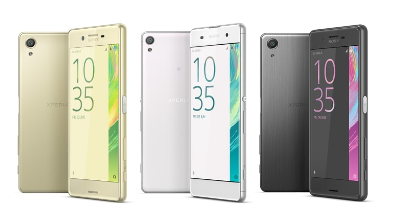 The Xperia X line of phones. From left, the X, XA and X Performance.