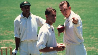 Hugo Weaving (right) with Gary Sweet (left) in a scene from Bodyline.