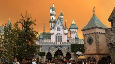 Eerie skies over Disneyland in Anaheim, California.