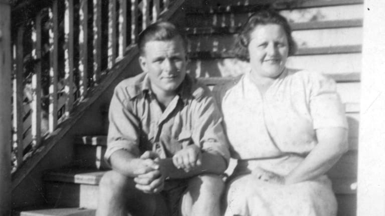 Thelma Healy with her son Vincent, before he was sent to fight in the Korean War.