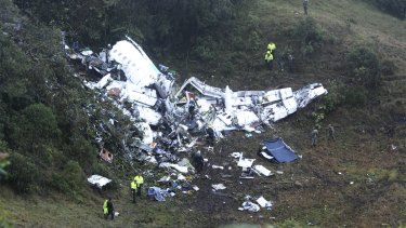 The crash site in Colombia.