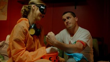 Doctor and reluctant patient: Kathryn Beck and Charles Cottier in <i>Cooped Up</i>, which has been released on digital platforms including iTunes, Google Play and Amazon.