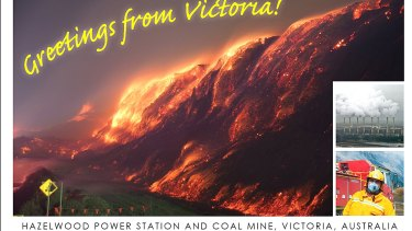 A postcard sent to the French government by supporters of Environment Victoria calling for the Hazelwood coal plant and mine to be shut.