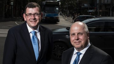 Premier-elect Daniel Andrew with the man tipped to be his Treasurer Tim Pallas.