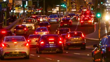 Peak hour traffic heading south towards Hurstville on King George's at Beverly Hills.