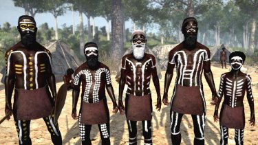 Painted Aboriginal men from  Virtual Songlines.