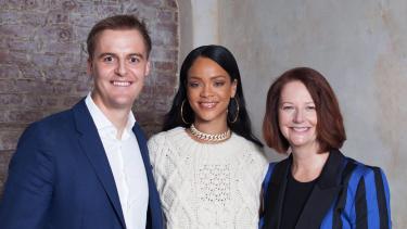 Global Citizen founder Hugh Evans, Rihanna and Julia Gillard at the Global Citizen Festival in 2016.