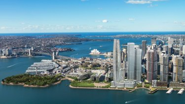 The planned Crown Sydney casino tower at Barangaroo, left.