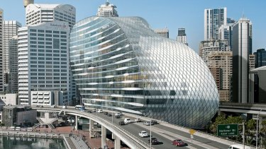Artist's impression of the new 20-storey building that will replace the IMAX Cinema ... The Ribbon in Darling Harbour.