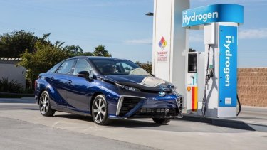 The Toyota Mirai is a hydrogen fuel-cell car.
