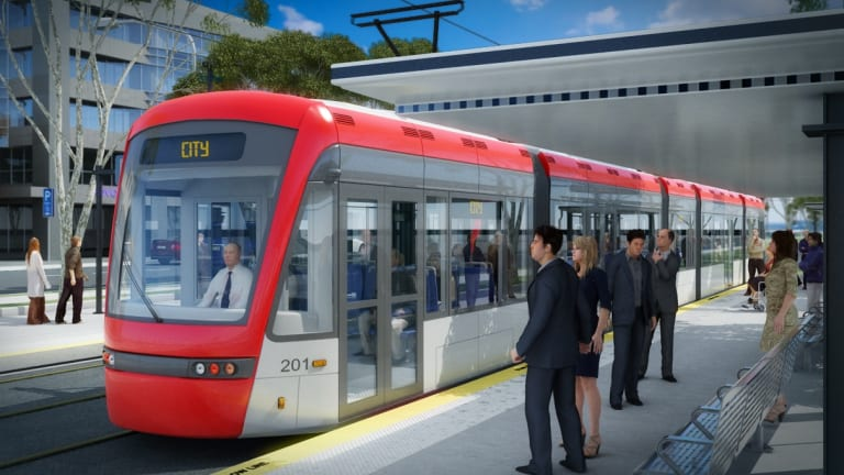 An artist's impression of the proposed Capital Metro light rail.