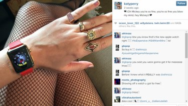 Katy Perry's Apple watch on her Instagram feed.