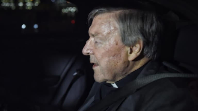 Cardinal George Pell landed in Sydney on Monday morning.