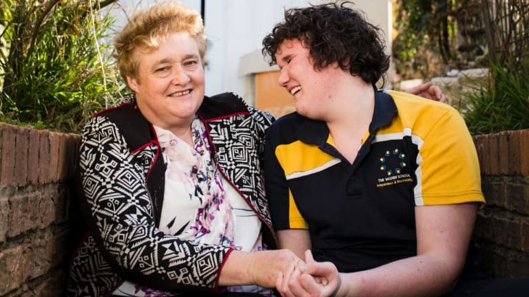 Karna O'Dea at home with her son Malcolm, who has complex needs and uses Marymead's respite service every second weekend.