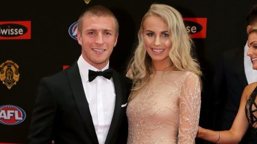 United: Kieran Jack and Charlotte Goodlet on the red carpet at the 2015 Brownlow Medal.